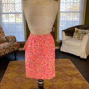 Lily Pulitzer pink print peplum pencil skirt 4